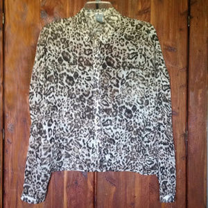 Charlotte Russe Leopard Spiked Blouse | M